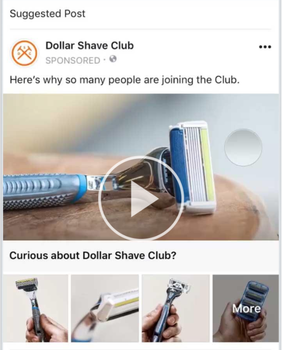 This Facebook ad type example shows a collection ad from a shaving club.