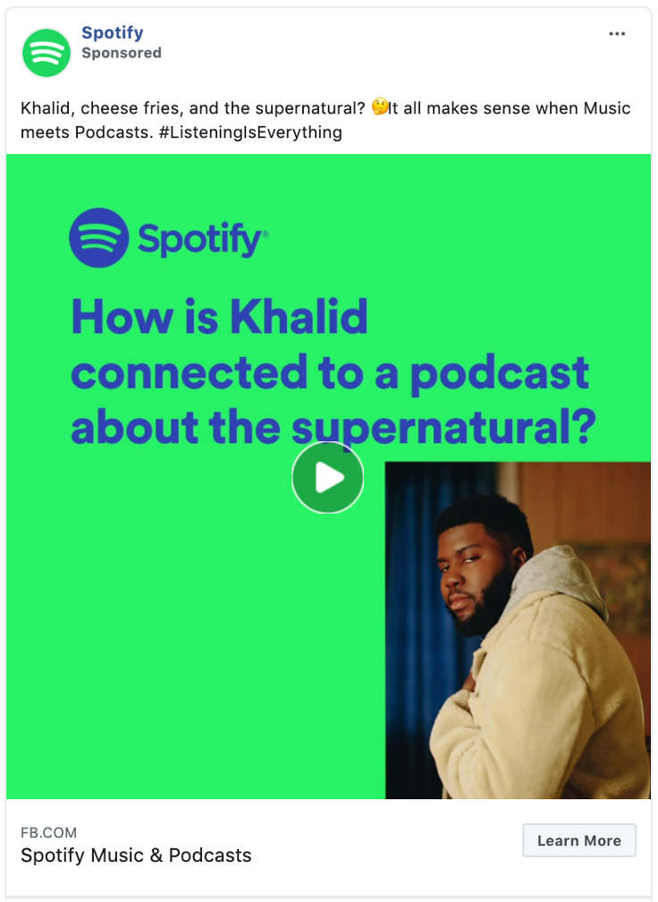 This Facebook ad example from Spotify shows how using good design can bring people in.