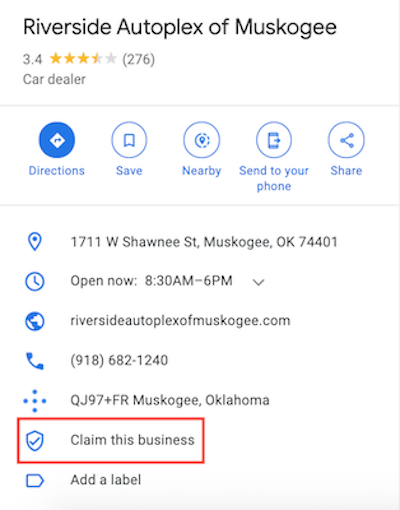 On Google My Business, you can search for your business and claim your listing from there.