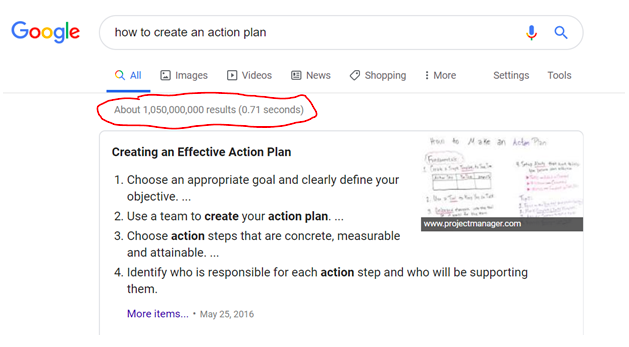 There are a lot of ways to come up with an action plan. A belief plan might be a better way to achieve your goals.