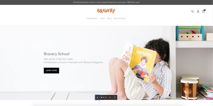 Screenshot of Bravery's homepage showing their free week of school offer.