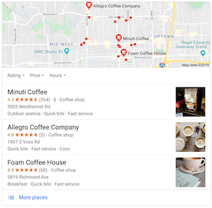 An example of Google's Map pack with local search results - LOCALiQ