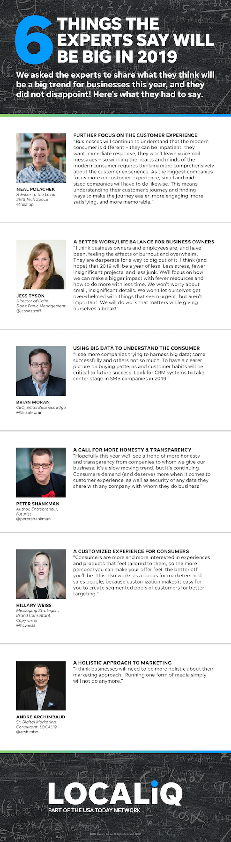 We asked six of our trusted experts what will matter most for businesses in 2019. Here's what they came back at us with.
