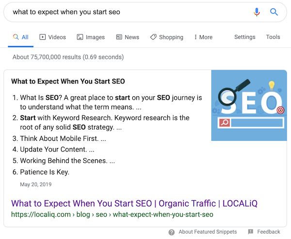 Screenshot of Featured Snippet for What to Expect When You Start SEO Query - LOCALiQ