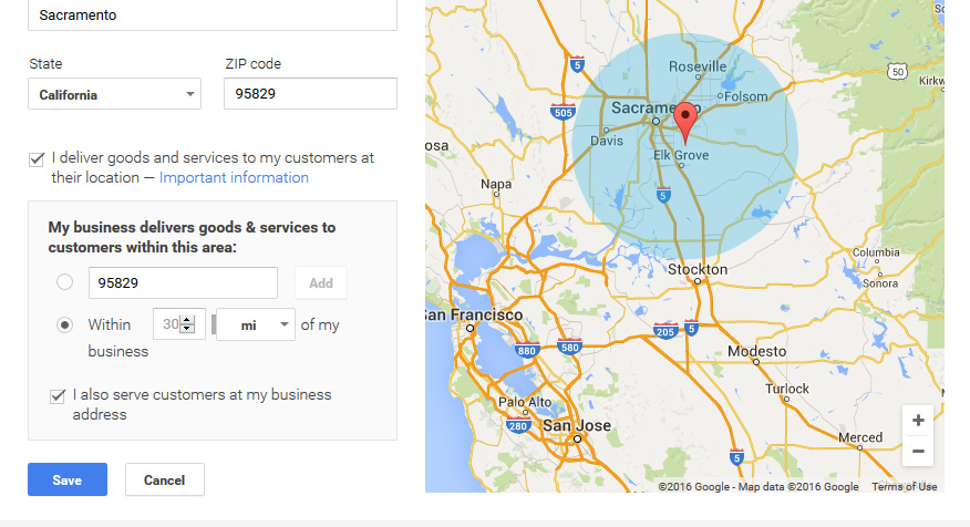 Google Business gives you the tools to specify a service area, and you can let the public know if you make deliveries.