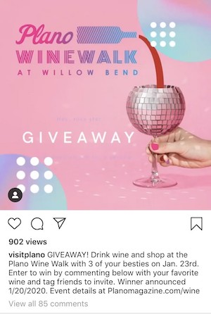 Screenshot of Contest on Instagram from Visit Plano