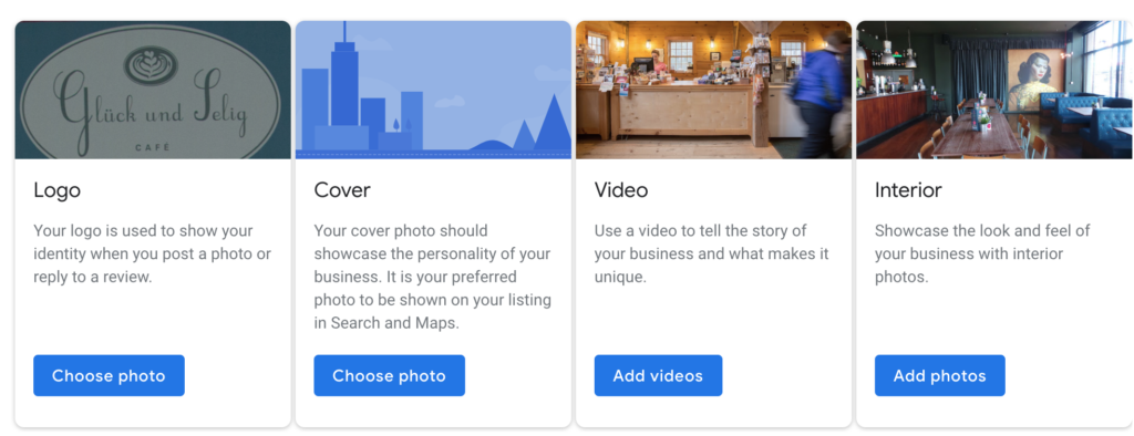 Screenshot of photos to upload in the Google My Business dashboard.