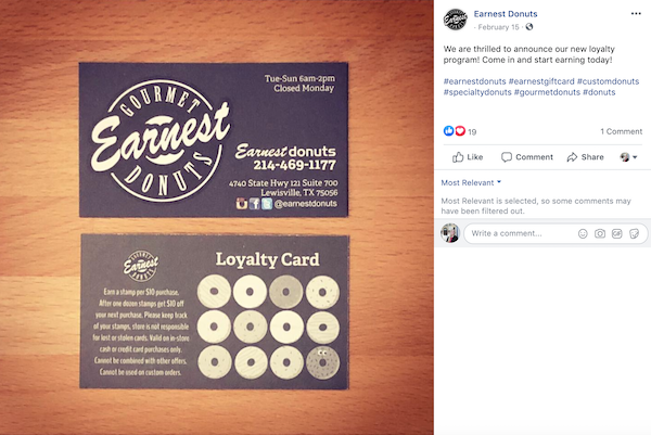 An example of a free customer loyalty program from a donut shop.
