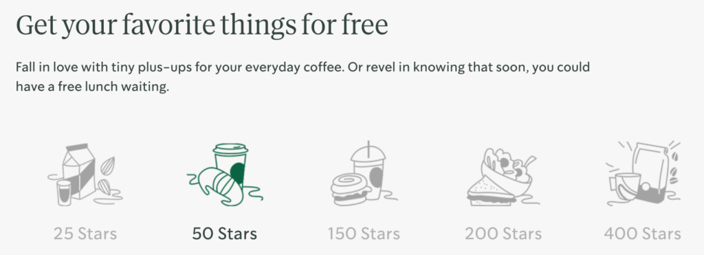 Starbucks Rewards allows you to choose from various options based on how many points you earn.