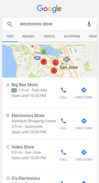 Here's an example of a local Google Ad from Google which shows how consumers can see your local ads.