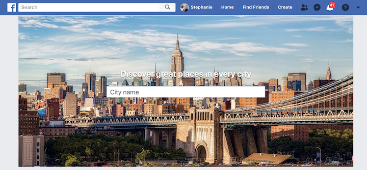 Facebook is a social media site but also serves as a business listing with Facebook places.