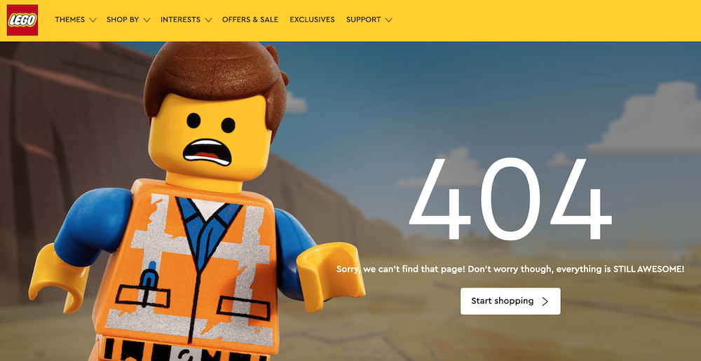 SEO Website Design - LEGO's 404 error page is cute, but they'll want to limit the number of links that direct to this to boost SEO.