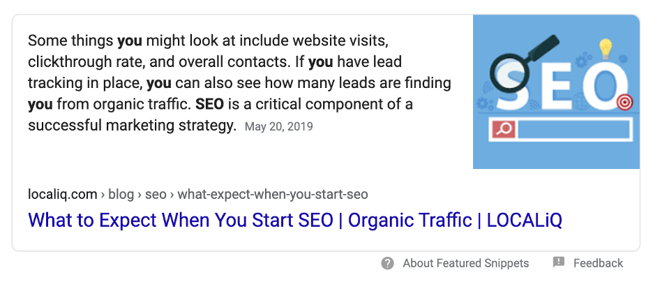 SEO Website Design - Here's an example of a featured snippet in Google search results.