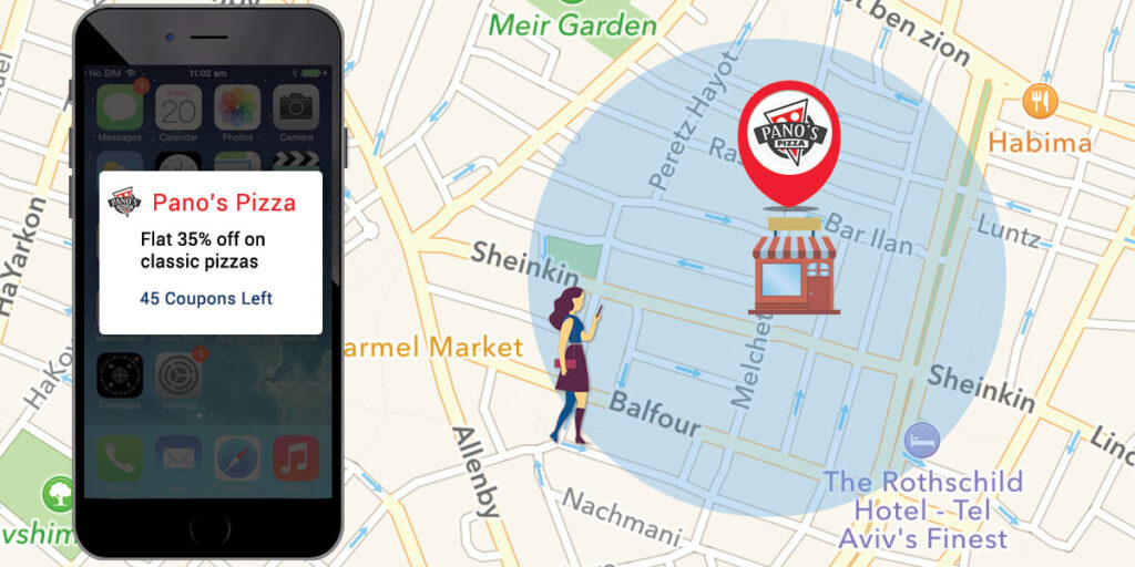 This shows how geofencing, a display advertising tactic, works to capture interested consumers.