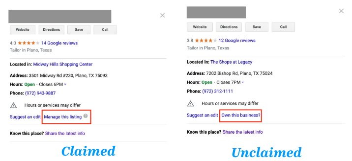 This shows the difference between a claimed and unclaimed listing on Google My Business.