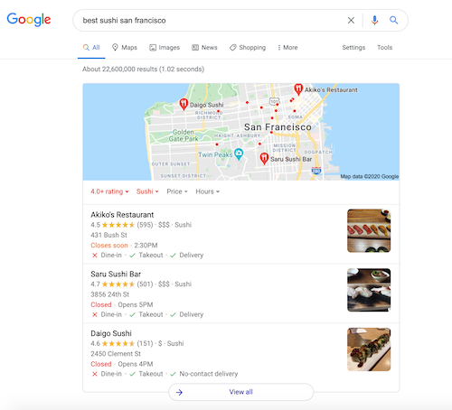 Google's 3-pack consists of the three map results that appear in search results for local searches.