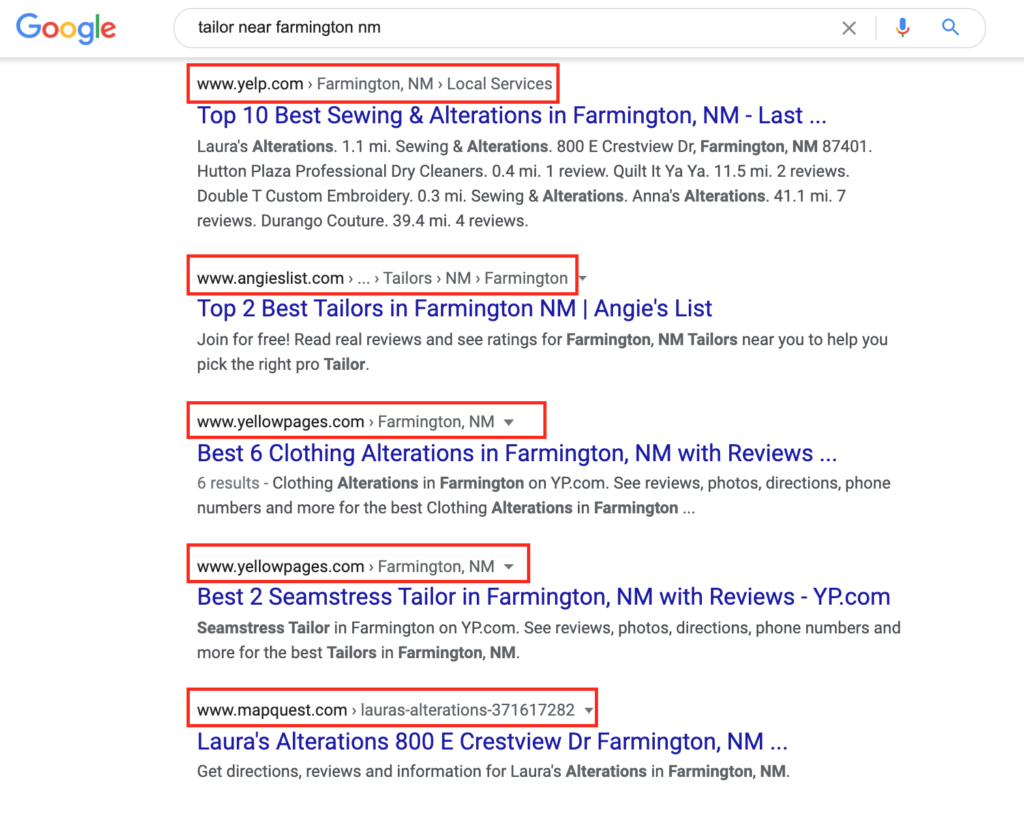 The top five results for this local search go to directory listing sites.
