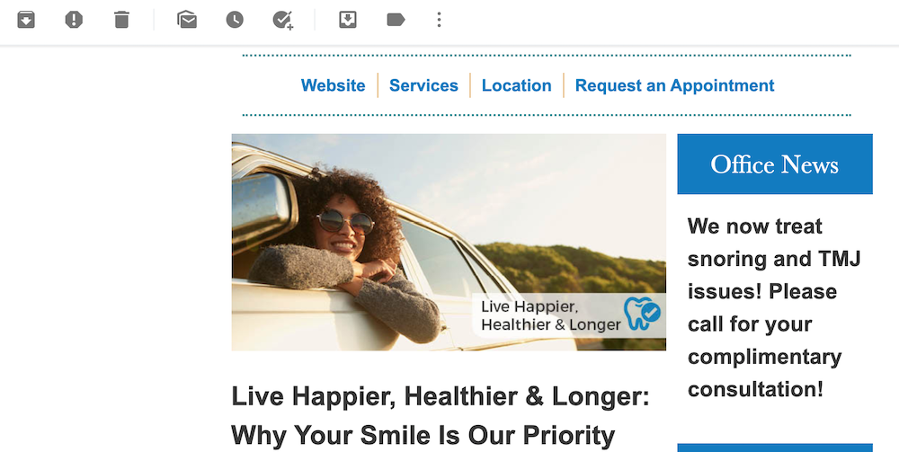 An example of an email marketing message from a dentist with a coupon.