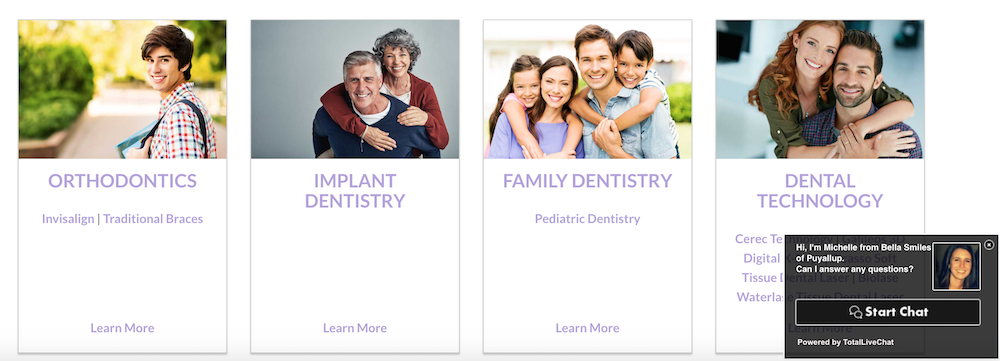Here's an example of a dental group with live chat enabled on their website.