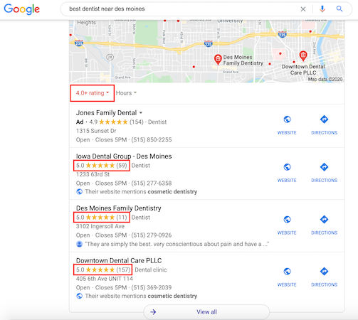 """When you search for """"best"""" in search results, you receive businesses with a 4.0 star rating or above."""