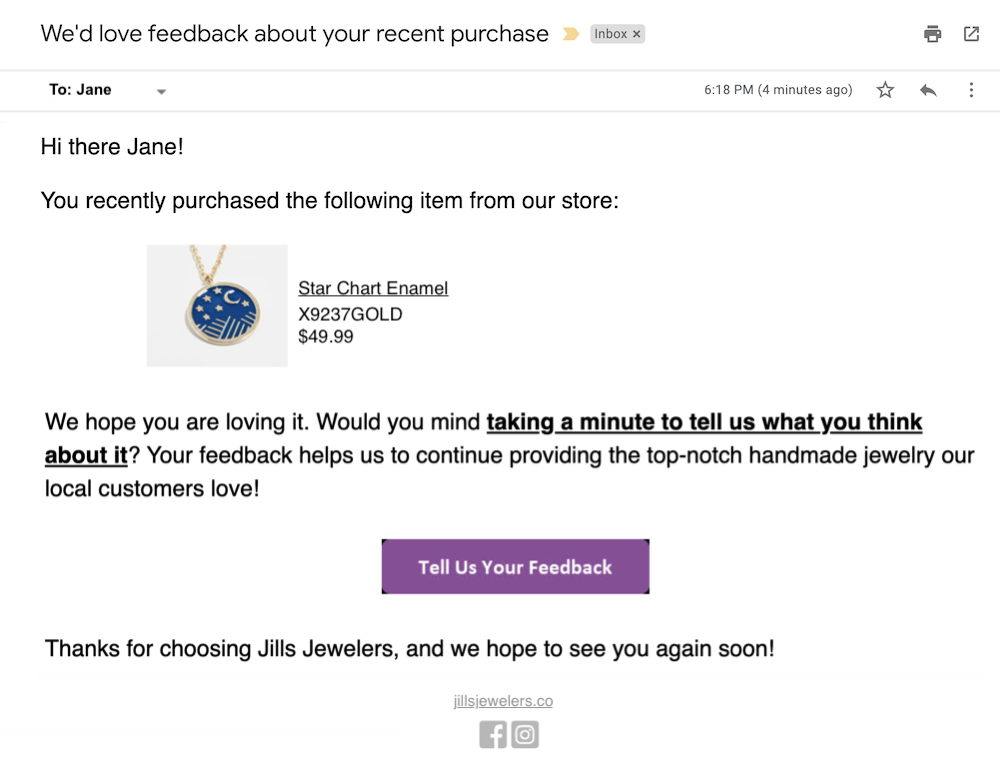 email examples and templates product feedback example