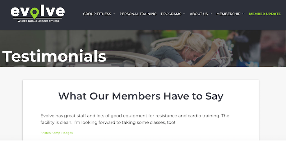 This gym includes testimonials on their website as part of their fitness marketing.