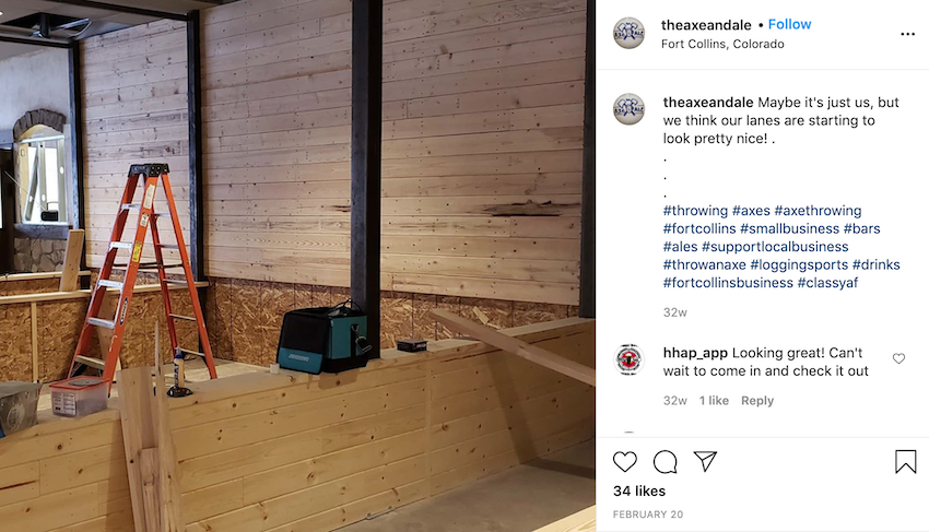 The Axe And Ale shared progress photos on their social media sites to promote the opening of their new business during the pandemic.