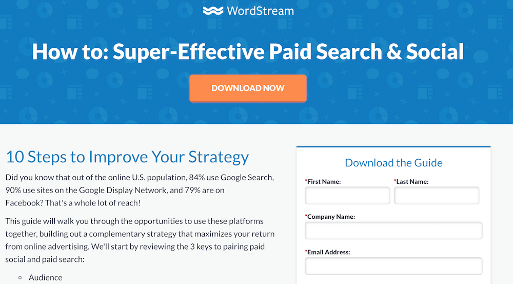 This example landing page from WordStream shows how to create a good landing page for your sales funnel.