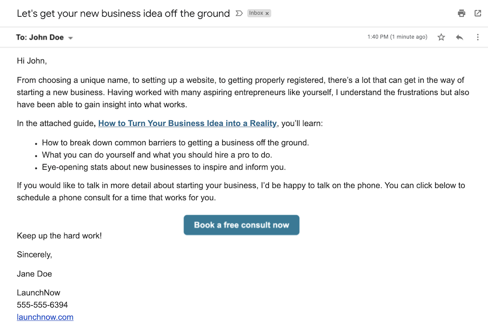 small business email examples and templates book a consult