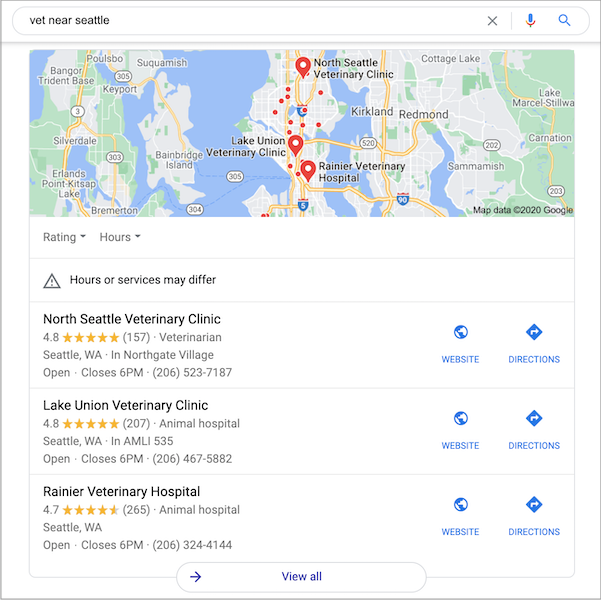 The Google local 3 pack shows up in search results on desktop and in the app for local searches.