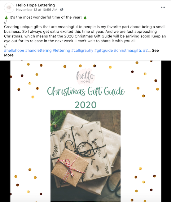 Sharing a gift guide on your Facebook page is a great holiday Facebook idea to engage your audience.