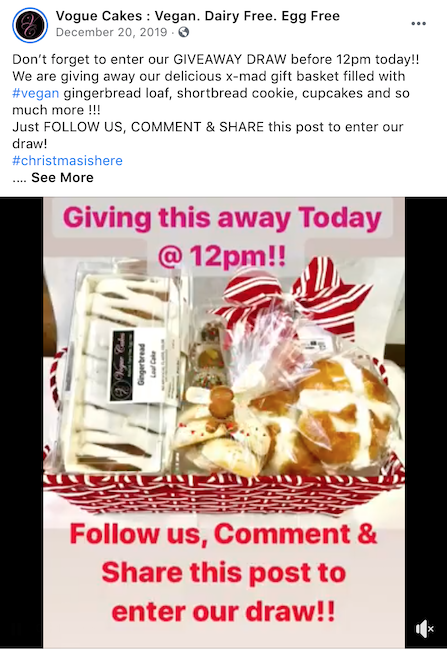One Facebook contest idea during the holidays is to have users, follow you, like your post, and share your post.