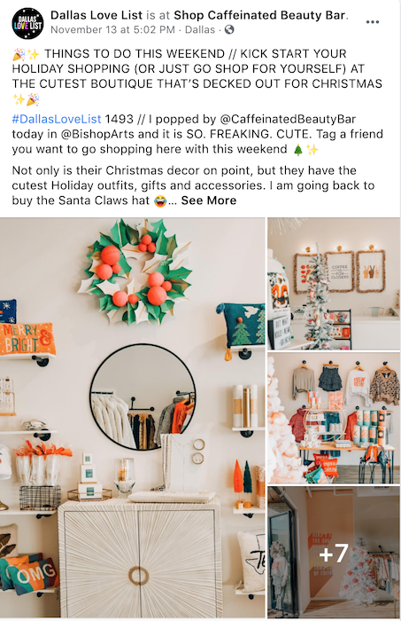Share pictures of holiday decor in your location - or have another business share pictures from inside your location as part of your holiday facebook posts.