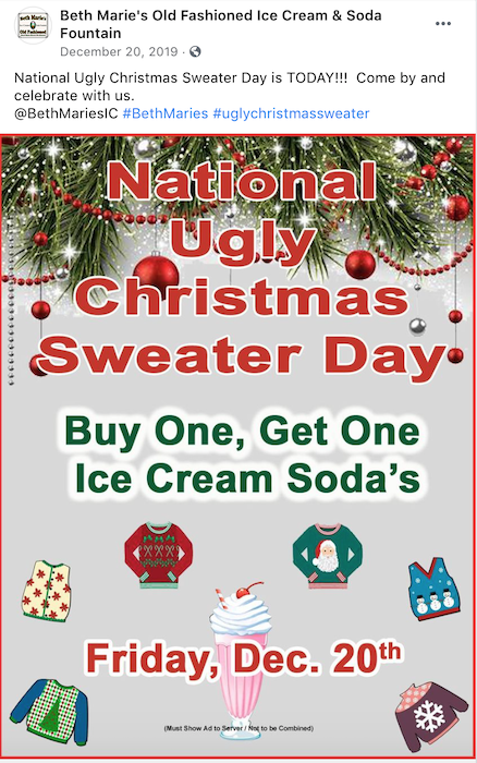 Participate in and post about silly holiday observances for your holiday facebook marketing.