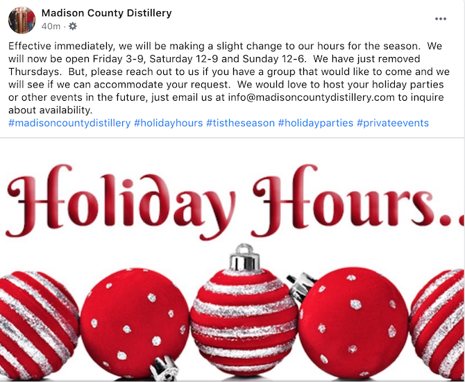 Make sure you update your business's holiday hours on Facebook as part of your holiday Facebook marketing strategy.