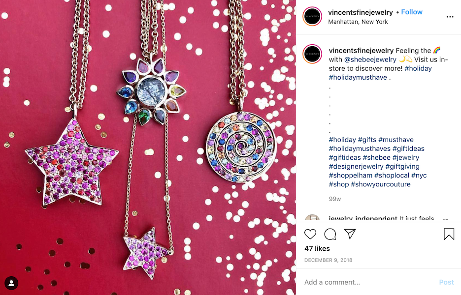 Show off your merchandise to let shoppers know how it might make a great gift in your Instagram post.