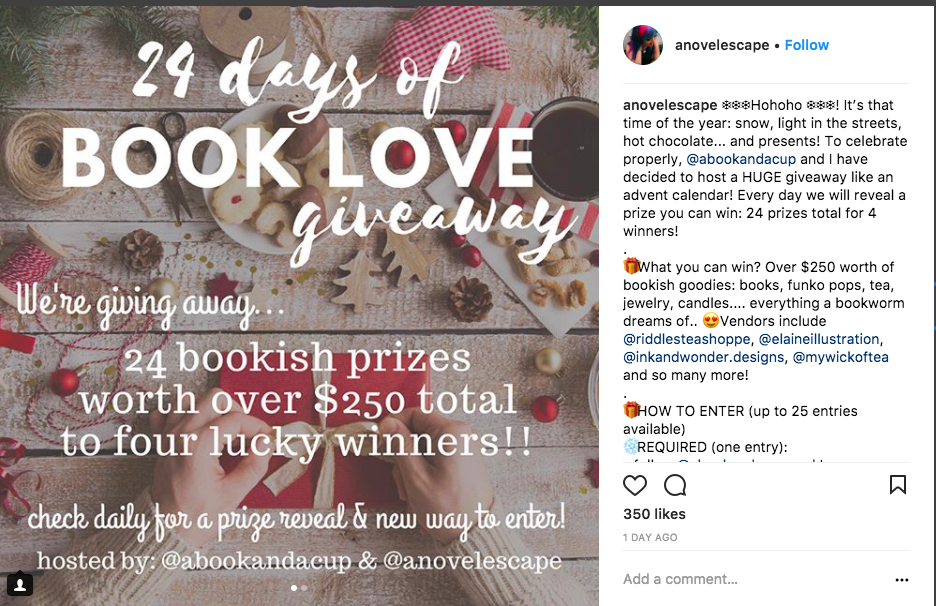 This instagram holiday giveaway idea asks people to follow a daily prompt to be entered to win.