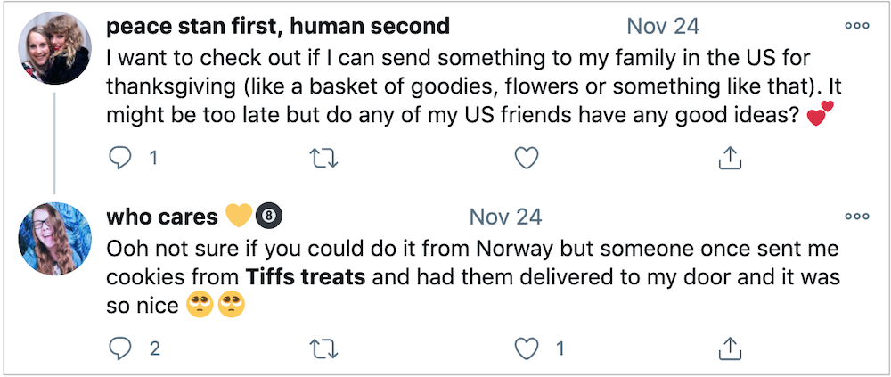 While not technically an online review, word of mouth marketing can happen in the form of online chatter, like in this exchange on Twitter.
