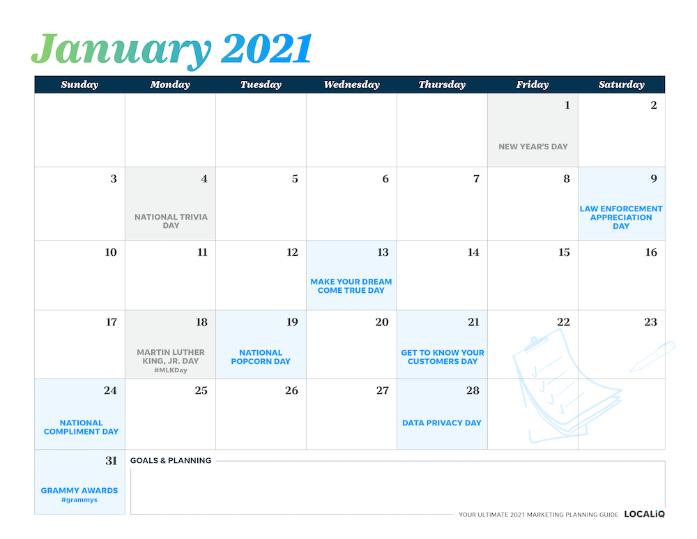 Plan your January 2021 marketing with this marketing planning calendar.