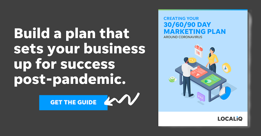 This guide from LOCALiQ contains sample marketing planning templates to help you create a small business marketing strategy during covid-19.