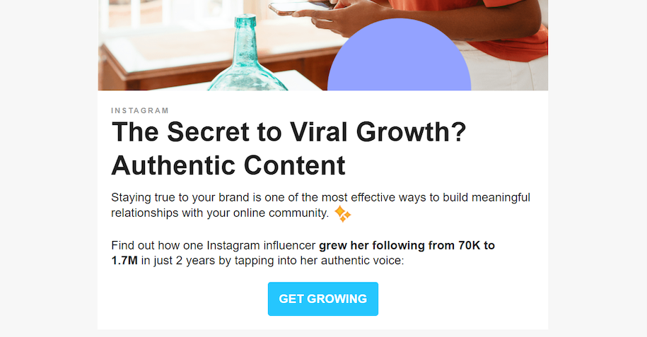 This example shows a standout CTA in an email marketing for lead nurture message.
