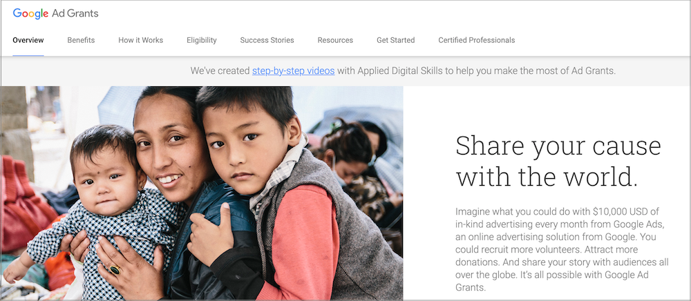 Google Ads Grants allow nonprofits to get free budget from Google for Google Ads for nonprofits.