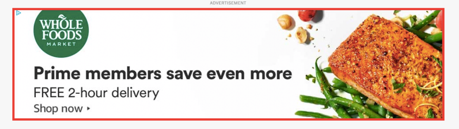 Within Google Ads, your nonprofit can run ads on the Display Network or the Search Network. This is an example of a display ad.