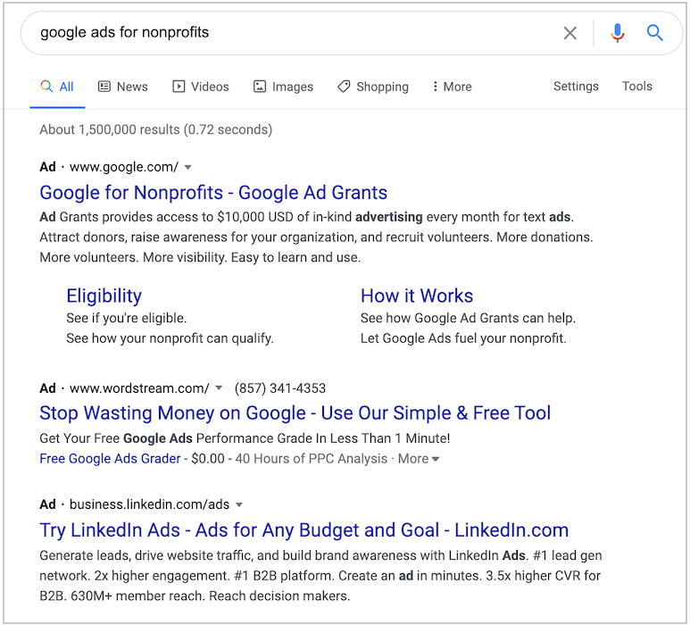 Here's an example of search advertising ads on Google.