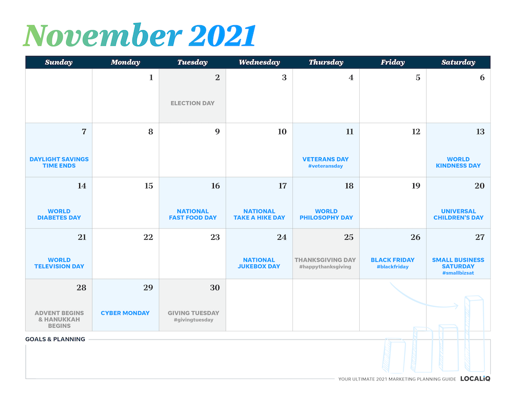 Plan your November 2021 marketing with this marketing planning calendar.