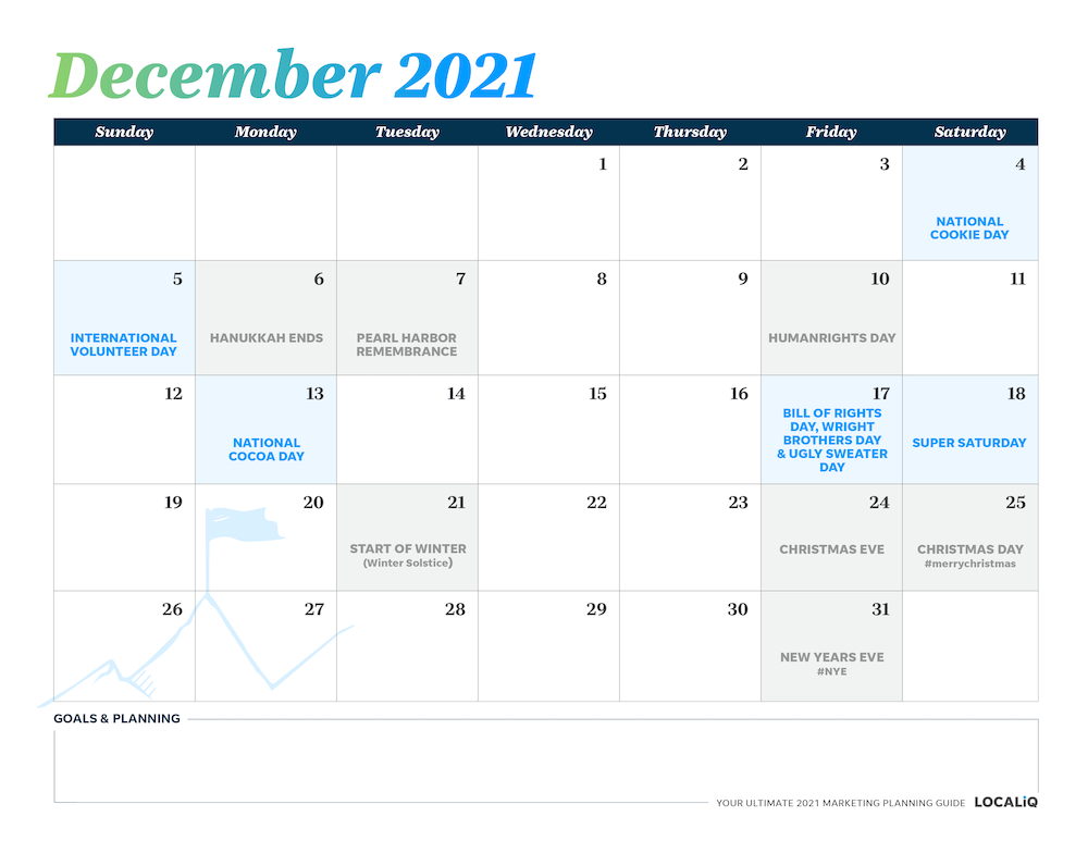 Plan your December 2021 marketing with this marketing planning calendar.