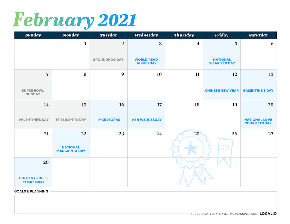 Plan your February 2021 marketing with this marketing planning calendar.