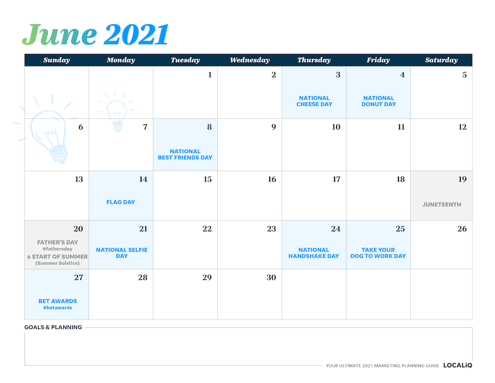 Plan your June 2021 marketing with this marketing planning calendar.